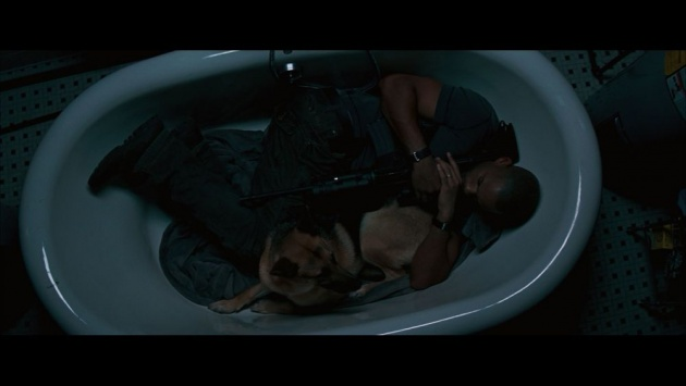 Will Smith and dog in bath tub