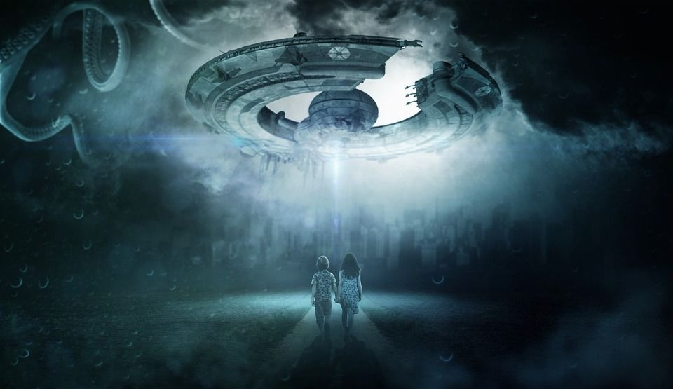 Sci fi image with flying saucer and two kids