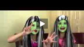 Frankie Stein Monster High Costume Makeup Tutorial for Halloween - Kittiesmama & Bratayley