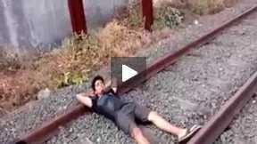 Man Cutting On Railway Funny