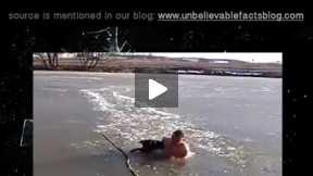 A man jumped in ice water to save drowning dog...