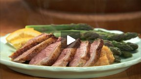Duck Breast on an Orange Spiced Leek and Sweet Potato Puree