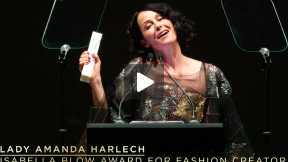 Lady Amanda Harlech Accepts the Isabella Blow Award for Fashion Creator at the 2013 British Fashion Awards